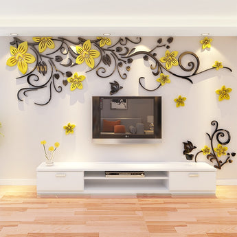 3D Shapes Red,Yellow, Purple  Flowers Wall Sticker Decals