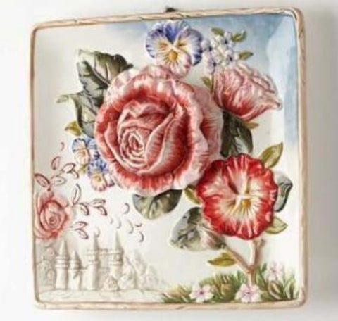Handmade Painted Emboss  Flower Decorative Hanging Wall Plate