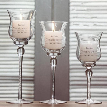 Modern Glass 3 PCS Crystal Candle Holder - My Aashis