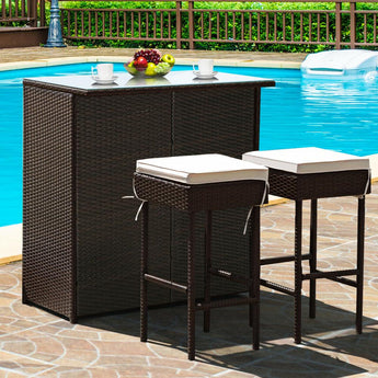 Trendy Patio Outdoor Bar Table Stool Dining Set - My Aashis