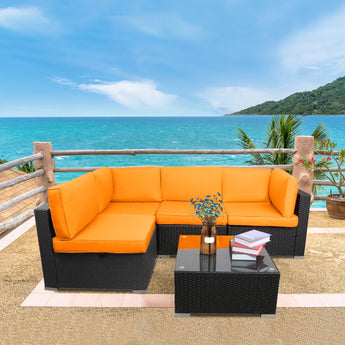 Cozy Outdoor Rattan Sofa Set with Coffee Table - My Aashis