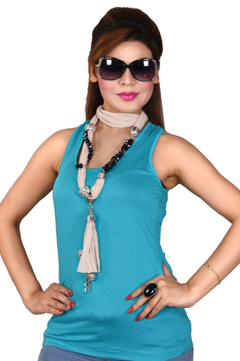Women's Long Skinny Polyester Scarf Necklace with Beads Chain and Tassels