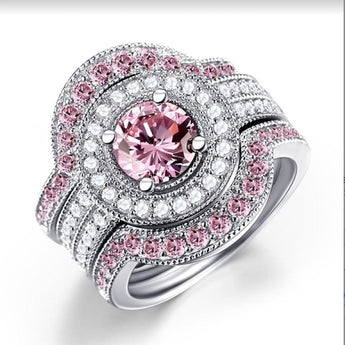 Crystal Pink Wedding  3PCS Rings Set - My Aashis