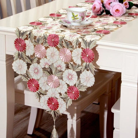 Elegant Floral Embroidered Cutwork Waterproof Table Runner - My Aashis