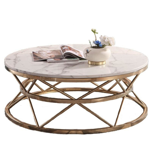 40cm High Round Marble Coffee Table - My Aashis