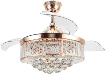 Modern Crystal Ceiling Fan Chandelier With Lights - My Aashis