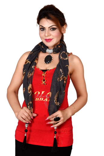 Women's Long Skinny Polyester Scarf Necklace with Beads Chain and Tassels - My Aashis