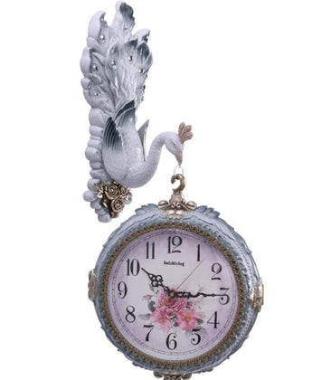 Modern Fashion peacock double faced mute wall clock