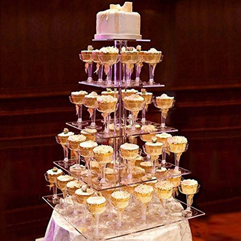 5 Tier Multi Layer Removable Acrylic Round Cake Stand Display