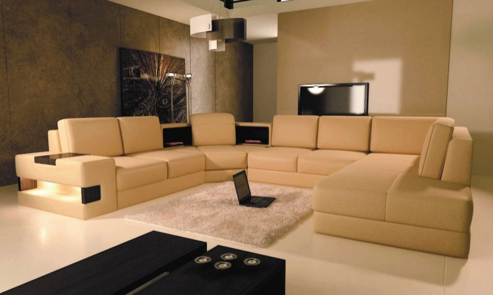 Picture of: Modern Beige Leather Sectional Sofa My Aashis