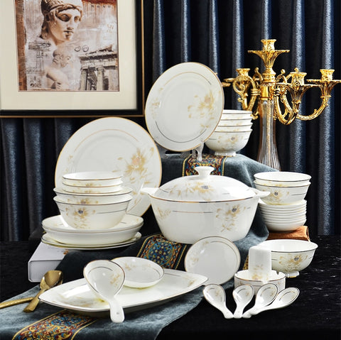 56Pcs  Gold Line Bone China Dinnerware Sets - My Aashis
