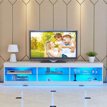 Solid  MDF Crafted Entertainment Center With LED Lighting - My Aashis