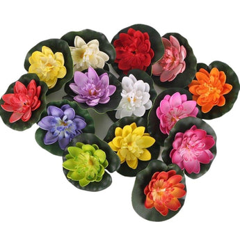 1PCS Floating Artificial Lotus Flowers Decor Floating Pond Decor Water Lily Home Decoration