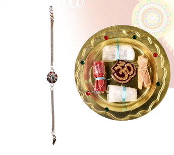 Handcrafted Designer  Rakhi (With Decorative Thali & Pooja Samagri)