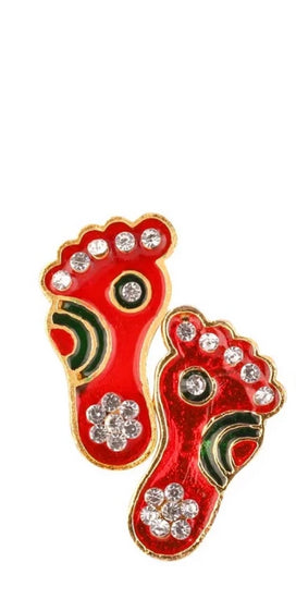 Diwali Decoration Rangoli Laxmi Charan Paduka Feet Metallic Showpiece - Puja Room, Meditation, Prayer, Office, Business, Home Decor Gift Collection Item/Product-Money, Good Luck, Prosperity