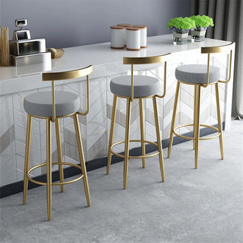 Attractive Bar Stool For Home Furniture  With Golden, Black & White Foot - My Aashis