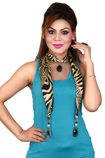 Women's Long Skinny Leopard Silk feel Scarf Necklace Pendant Jewelry - My Aashis