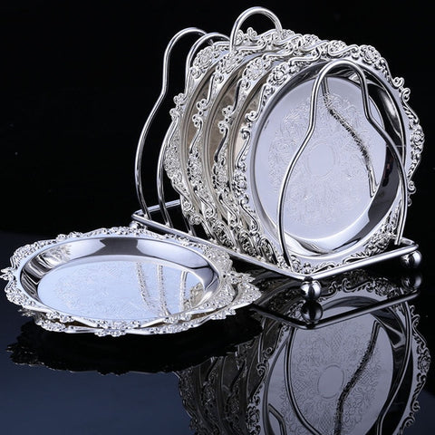 6 Pcs Silver/ Gold Wedding Party Decoration Tray - My Aashis