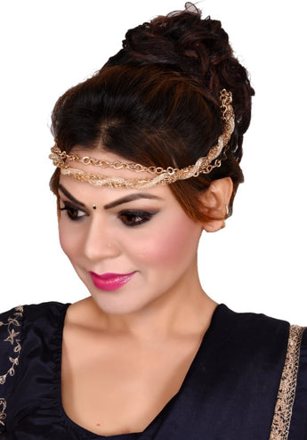 Latest and Trendy Collection of Gold Plated 3 In 1 Waistbelt + Necklace + Hair Accessories - My Aashis