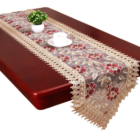 Organza Floral Embroidered Table Runner - My Aashis