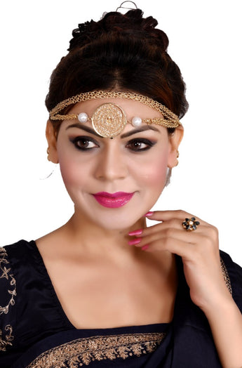 Fashionable Traditional Style Gold Plated 3 In 1 Waistbelt + Necklace + Hair Accessories - My Aashis