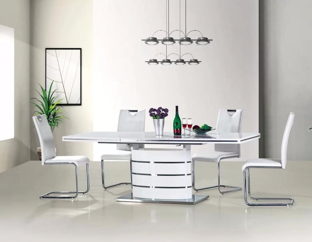 8 Seater Glossy White Wooden Extended Dining Table And Chair My Aashis