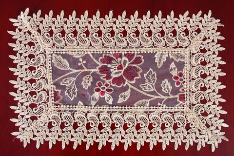 Rectangular Beige Lace Table Doilies or Place-mats - My Aashis