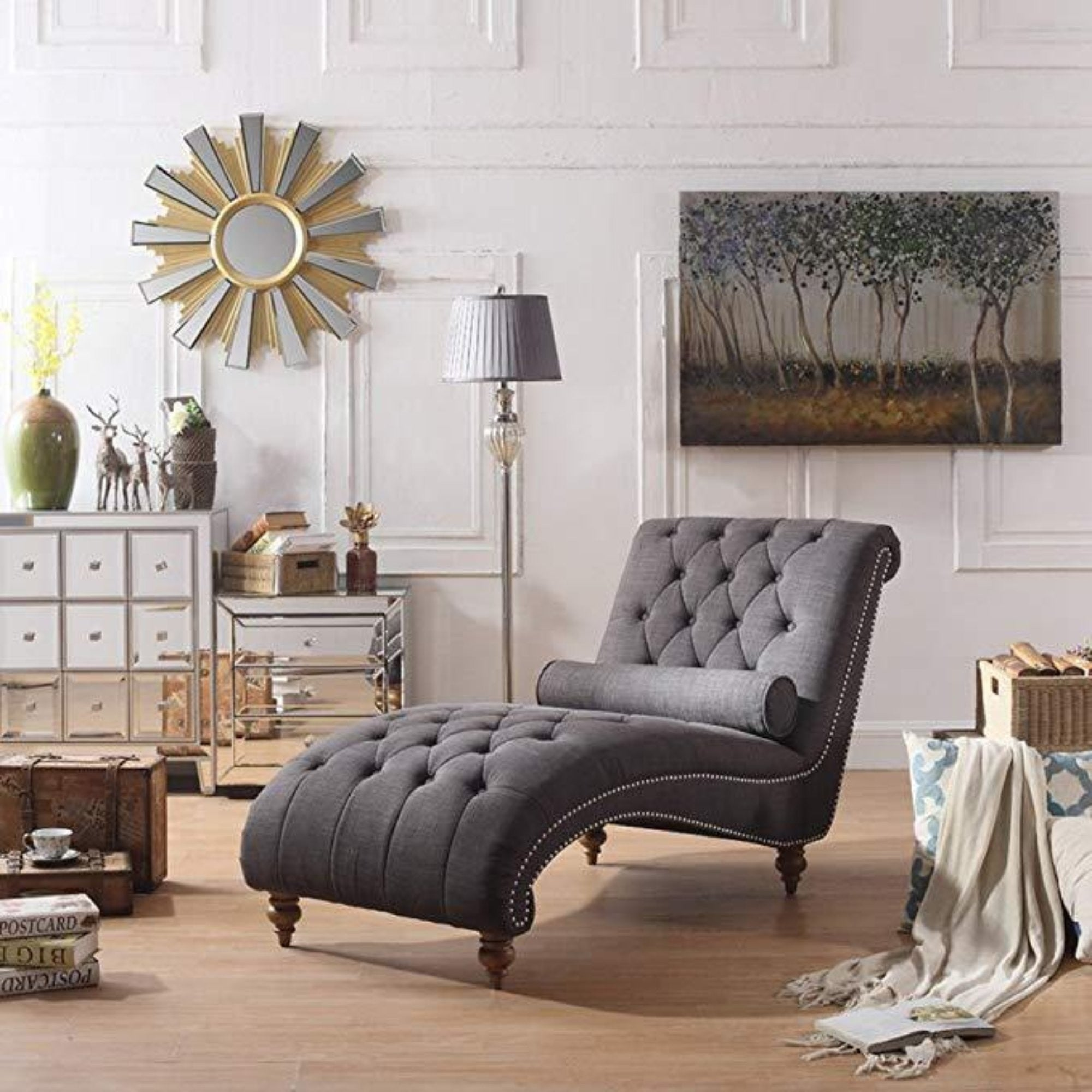 Picture of: Luxorious Indoor Chaise Lounge Chair With Nailhead Trim And Accent Toss Pillow My Aashis