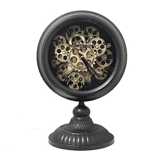Vintage Pocket Watch Style Table Clock Retro Distressed Iron Artesian Pedestal Real Moving Gears (Black)
