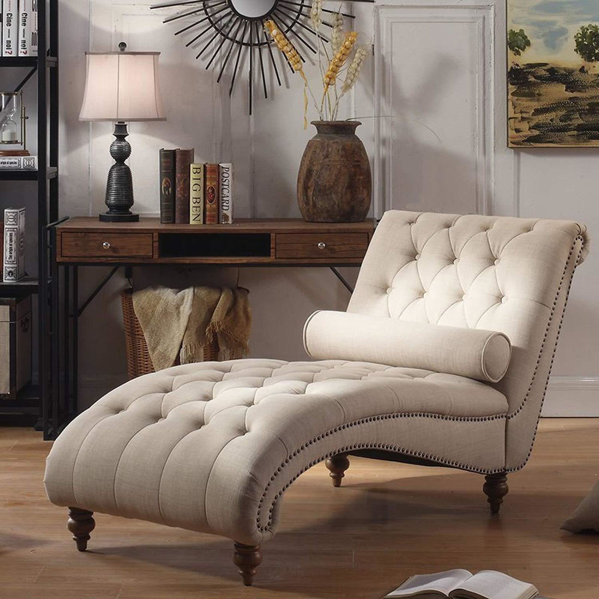 - Luxorious Indoor Chaise Lounge Chair - Contemporary Tufted Living