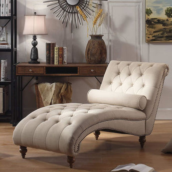 Luxorious Indoor Chaise Lounge Chair - Contemporary Tufted Living Room Lounge with Nailhead Trim and Accent Toss Pillow