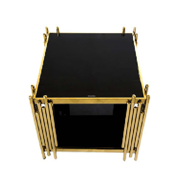Modern Stylish Stainless Steel Coffee Table with Glass Top - My Aashis