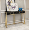 Metal With Golden Finish Console  Side Table - My Aashis