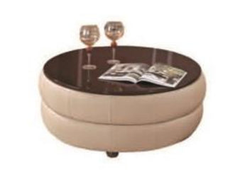 Round Leather Coffee Table w/ Brown Glossy Table Top, Tufted, Tan, Contemporary. - My Aashis