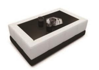 Contemporary White And Black Leather Coffee Table w/Black Glass Table Top