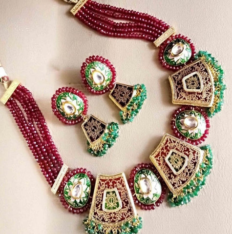 Kundan Style Multicolor Gold Plated Necklace Set - My Aashis