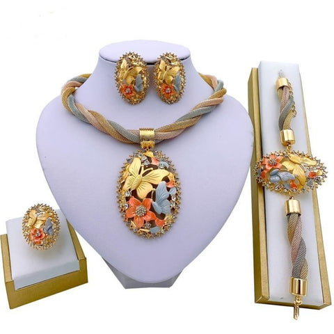 Delightful Golden Bridal Necklace Set - My Aashis