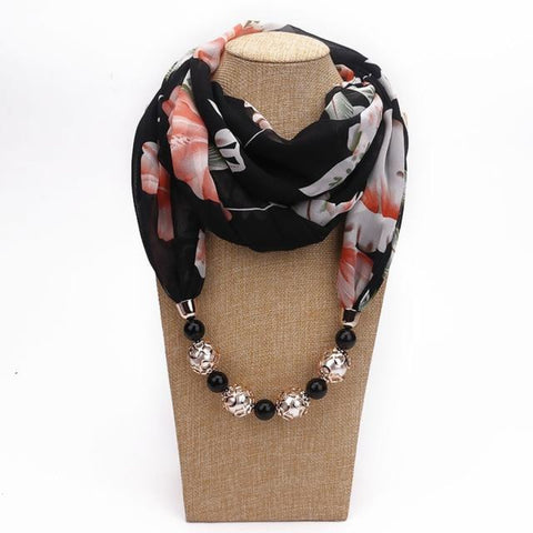 Fashionable Chiffon Beads  Flower Pattern  Neck Scarves
