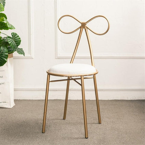 Modern Iron Metal Butterfly Backrest Dressing Chair - My Aashis