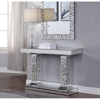 Mirrored Faux Gemstones Dressing Table For Bedroom - My Aashis