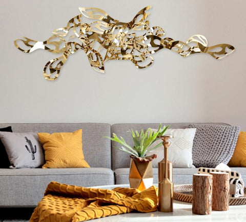 Modern gold metal craft abstract art and craft home 3d wall decor - My Aashis