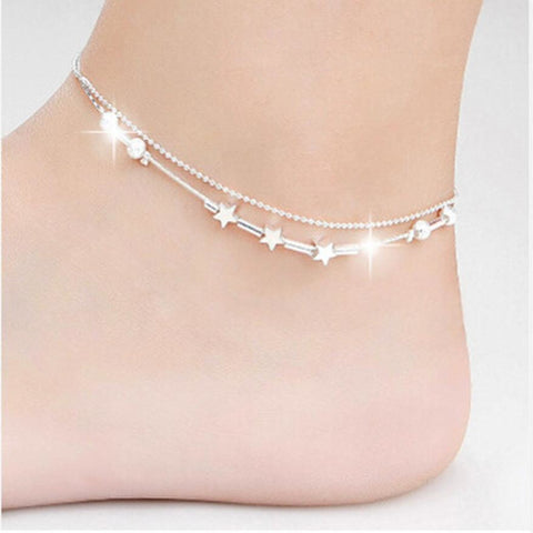 Elegant Double Chain Star Pattern Anklet - My Aashis