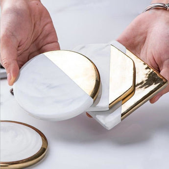 CFen A's Gold Marble Coasters Ceramic Coaster Tea Cup Pad Round Table Mat Coaster Coffee Tea Cup Place Mats 1pc - My Aashis