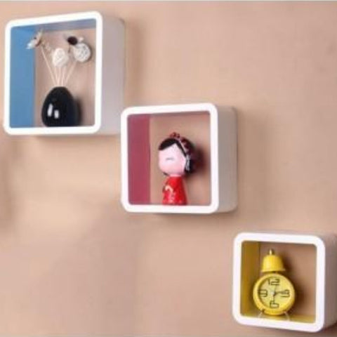 CONNECTWIDE 3 Retro Square Wooden Rounded Floating Cube Wall Storage Shelves