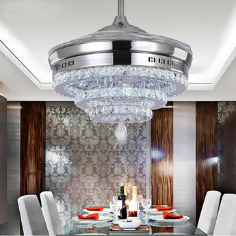 Crystal Copper Finish Fan Chandelier Light - My Aashis