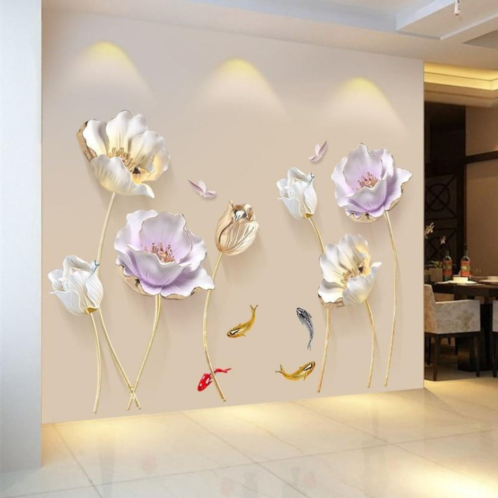 Home Decor Flower 3D Wallpaper Wall Sticker