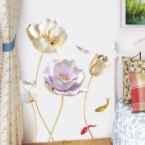 Home Decor Flower 3D Wallpaper Wall Sticker - My Aashis