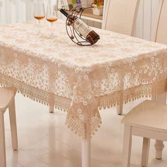 Magnificent Embroidered Pastoral Table Cloth