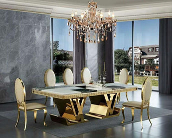 Luxurious Contemporary Marble Top Gold Stainless Steel Dining Table For 8 To 10 Person - My Aashis