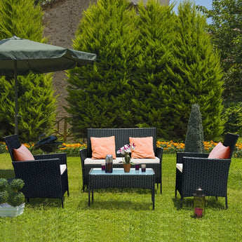 Patio Rattan Sofa Set for Indoor-Outdoor with Comfortable Cushion Set - My Aashis